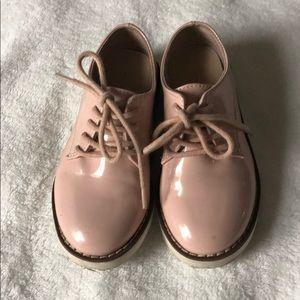 Zara girls pink patent loafers